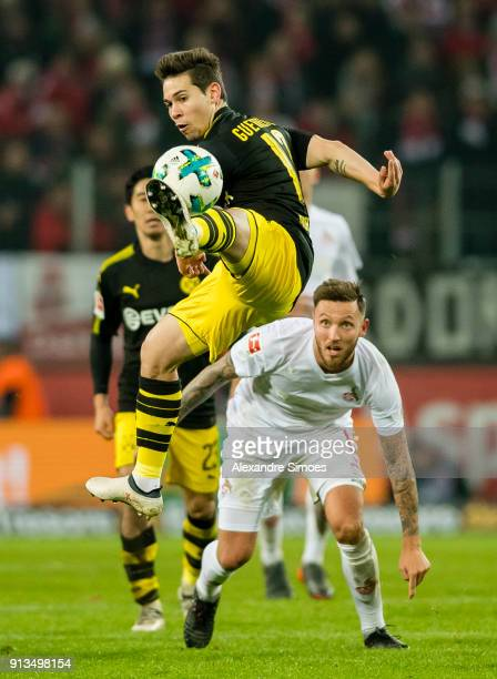 Raphael Guerreiro of Borussia Dortmund in action during the Bundesliga match between 1 FC Koeln and Borussia Dortmund at the RheinEnergieStadion on...