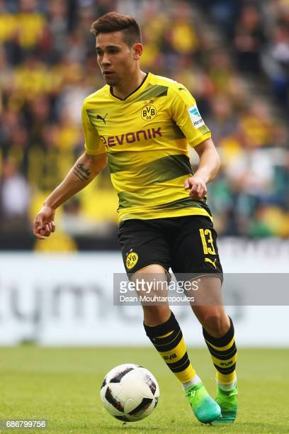 Raphael Guerreiro of Borussia Dortmund in action during the Bundesliga match between Borussia Dortmund and Werder Bremen at Signal Iduna Park on May...
