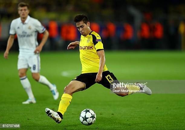 Raphael Guerreiro of Borussia Dortmund in action during the UEFA Champions League Group F match between Borussia Dortmund and Real Madrid CF at...