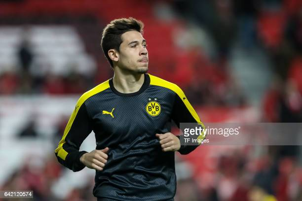 Raphael Guerreiro of Borussia Dortmund looks on before the UEFA Champions League Round of 16 First Leg match between SL Benfica and Borussia Dortmund...