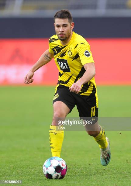 Raphael Guerreiro of Borussia Dortmund runs with the ball during the Bundesliga match between Borussia Dortmund and DSC Arminia Bielefeld at Signal...