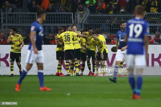 Raphael Guerreiro of Dortmund celebrates after he scored a goal to make it 40 during the Bundesliga match between Borussia Dortmund and FC Schalke 04...
