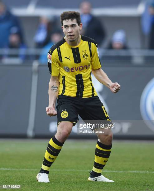 Raphael Guerreiro of Dortmund celebrates after scoring his team's first goal during the Bundesliga match between SV Darmstadt 98 and Borussia...