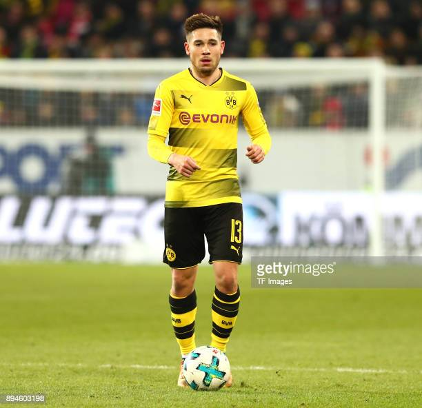 Raphael Guerreiro of Dortmund controls the ball during the Bundesliga match between 1 FSV Mainz 05 and Borussia Dortmund at Opel Arena on December 12...