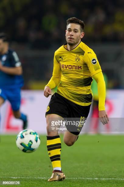 Raphael Guerreiro of Dortmund controls the ball during the Bundesliga match between Borussia Dortmund and TSG 1899 Hoffenheim at Signal Iduna Park on...