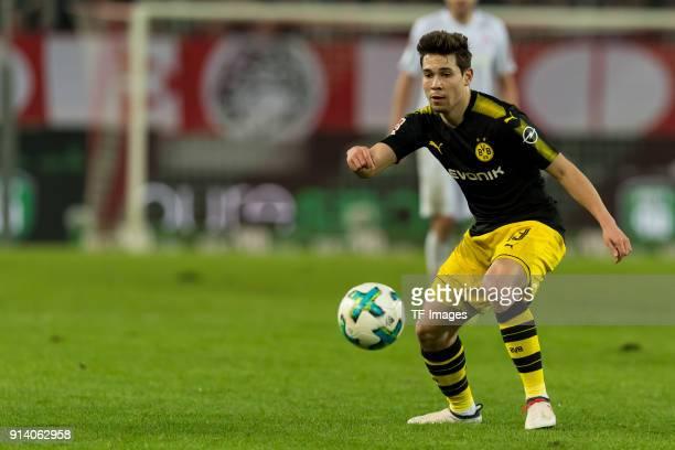Raphael Guerreiro of Dortmund controls the ball during the Bundesliga match between 1 FC Koeln and Borussia Dortmund at RheinEnergieStadion on...