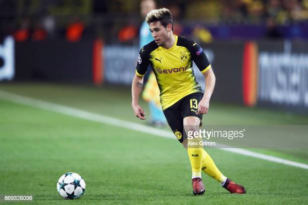 Raphael Guerreiro of Dortmund controls the ball during the UEFA Champions League group H match between Borussia Dortmund and APOEL Nikosia at Signal...