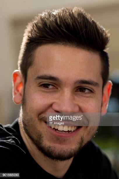 Raphael Guerreiro of Dortmund gives an interview during the Borussia Dortmund training camp at Marbella Football Center on January 05 2018 in...