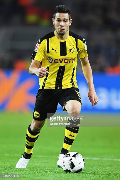 Raphael Guerreiro of Dortmund in action during the Bundesliga match between Borussia Dortmund and FC Schalke 04 at Signal Iduna Park on October 29...