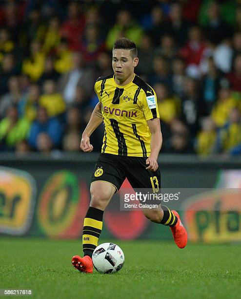 Raphael Guerreiro of Dortmund in action during the friendly match between AFC Sunderland v Borussia Dortmund at Cashpoint Arena on August 5 2016 in...