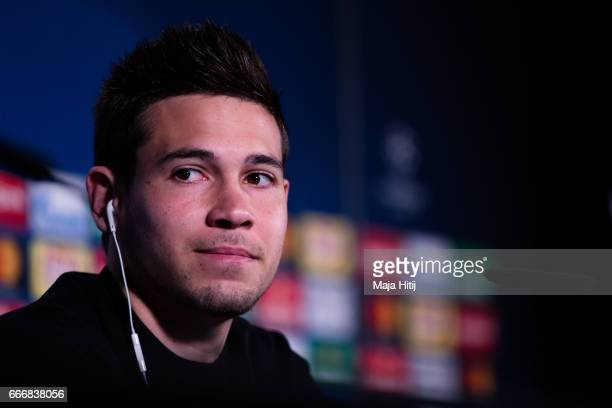 Raphael Guerreiro of Dortmund looks on during a press conference prior the UEFA Champions League Quarter Final First Leg match between Borussia...