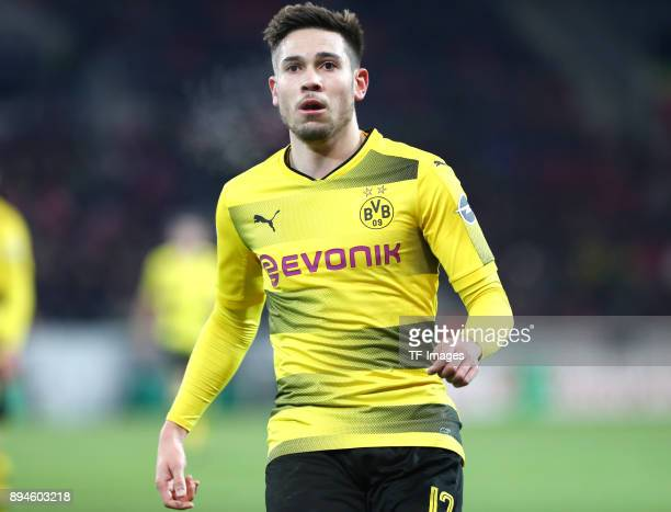 Raphael Guerreiro of Dortmund looks on during the Bundesliga match between 1 FSV Mainz 05 and Borussia Dortmund at Opel Arena on December 12 2017 in...
