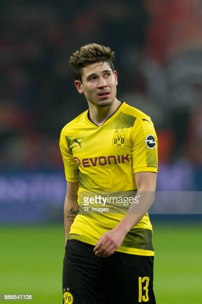 Raphael Guerreiro of Dortmund looks on during the Bundesliga match between Bayer 04 Leverkusen and Borussia Dortmund at BayArena on December 2 2017...