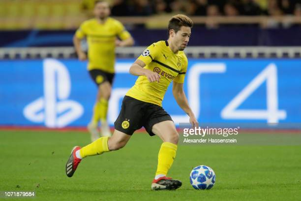 Raphael Guerreiro of Dortmund runs with the ball during the UEFA Champions League Group A match between AS Monaco and Borussia Dortmund at Stade...