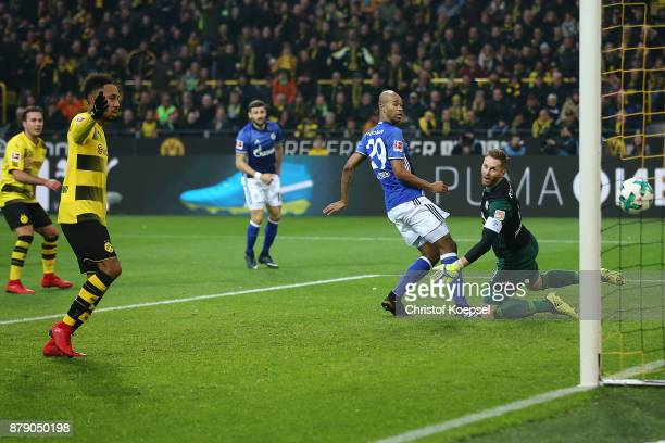 Raphael Guerreiro of Dortmund scores a goal to make it 40 during the Bundesliga match between Borussia Dortmund and FC Schalke 04 at Signal Iduna...