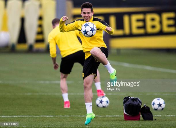 Raphael Guerreiro of Dortmund with a ball during a training prior the UEFA Champions League Quarter Final First Leg match between Borussia Dortmund...