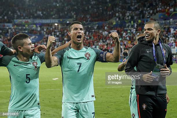 Raphael Guerreiro of Portugal Cristiano Ronaldo of Portugal Pepe of Portugal during the UEFA EURO semifinal match between Portugal and Wales on July...