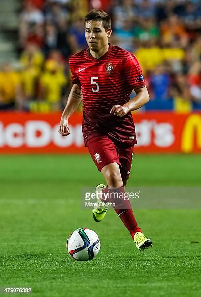 Raphael Guerreiro of Portugal in action during UEFA U21 European Championship final match between Portugal and Sweden at Eden Stadium on June 30 2015...
