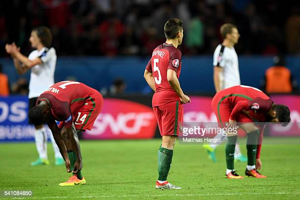 Raphael Guerreiro of Portugal looks dejected during the UEFA EURO 2016 Group F match between Portugal and Austria at Parc des Princes on June 18,...