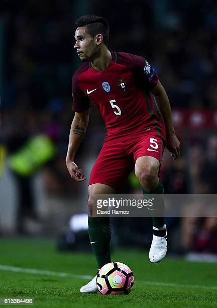 Raphael Guerreiro of Portugal runs with the ball during the FIFA 2018 World Cup Qualifier between Portugal and Andorra at Estadio Municipal de Aveiro...