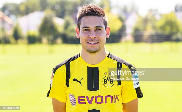 Raphael Guerreiro poses during the team presentation of Borussia Dortmund on August 17 2016 in Dortmund Germany