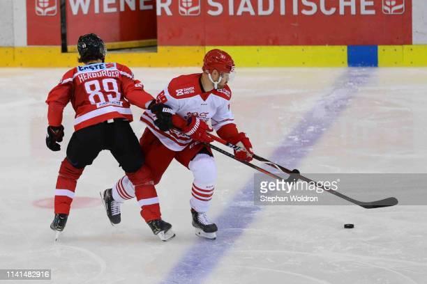 Raphael Herburger of Austria and Mikkel Bodker of Denmark during the Austria v Denmark - Ice Hockey International Friendly at Erste Bank Arena on May...