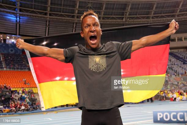 Raphael Holzdeppe of Germany celebrates winning gold in the Men's Pole Vault final during Day Three of the 14th IAAF World Athletics Championships...