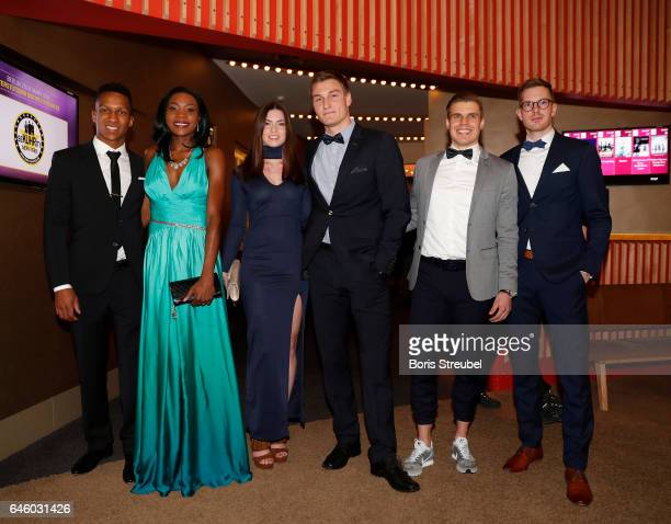Raphael Holzdeppe Sosthene Moguenara Thomas Roehler and his companian Lucia Julian Reus and company pose prior to the Berlin 2018 European Athletics...
