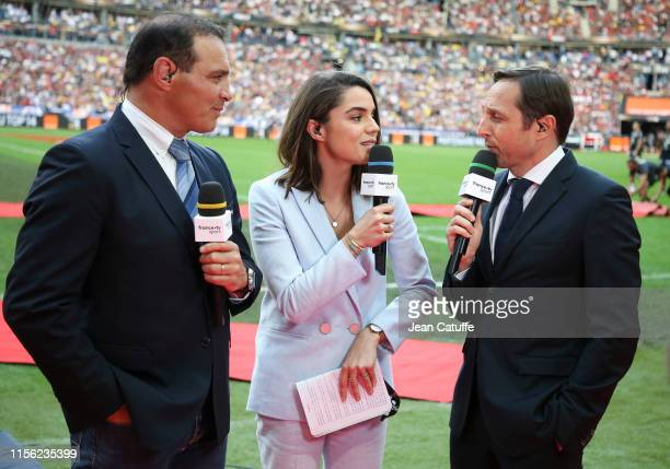 Raphael Ibanez, Cecile Gres, Cedric Beaudou comment for France Televisions the Top 14 Final match between Stade Toulousain and ASM Clermont Auvergne...