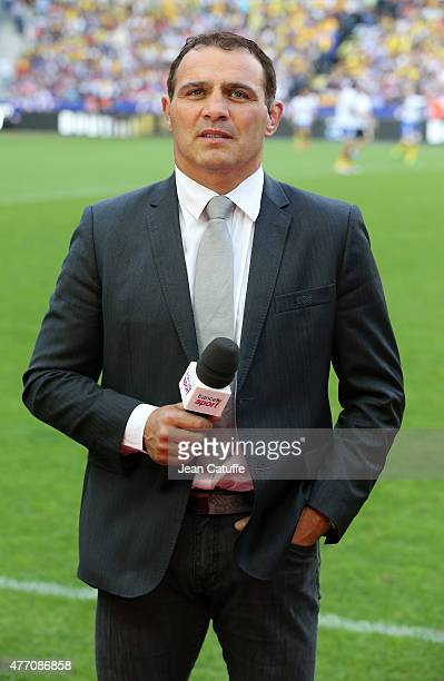 Raphael Ibanez comments for France 2 the Top 14 Final between ASM Clermont Auvergne and Stade Francais Paris at Stade de France on June 13 2015 in...