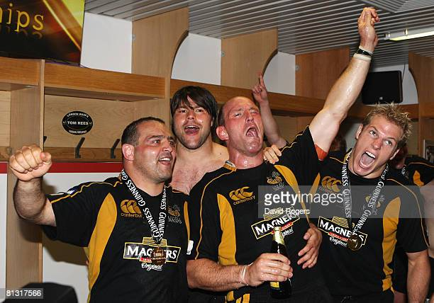Raphael Ibanez Tom Palmer Lawrence Dallaglio and James Haskell celebrates victory in the Guinness Premiership Final match between Leicester Tigers...