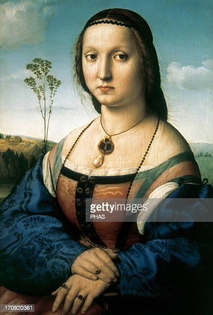 Raphael Italian painter Portrait of Maddalena Doni Oil on wood 15061507 Pitti Palace Florence Italy