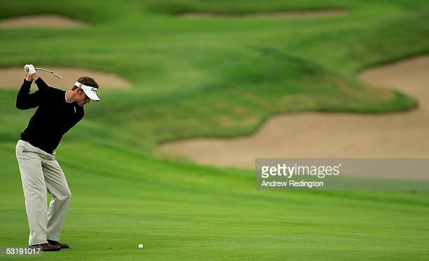 Raphael Jacquelin of France hits his second shot on the fourth hole during the final round of The Smurfit European Open on The Palmer Course at The K...