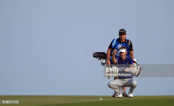Raphael Jacquelin of France in action during the Pro Am prior to the start of the NBO Oman Open at Al Mouj Golf on February 14 2018 in Muscat Oman
