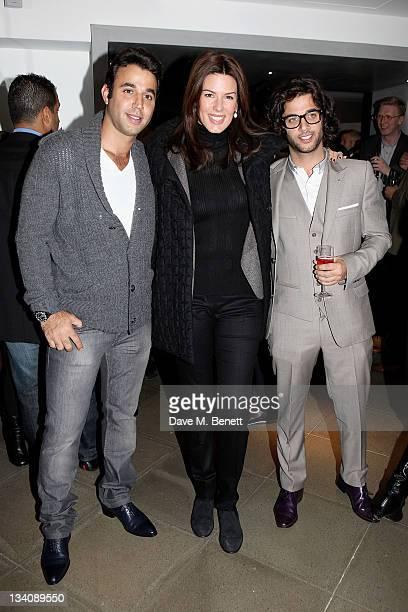 Raphael Khalili Christina Estrada Juffali and Benjamin Khalili attend a private viewing of 'Art Rocks Contemporary Jewellery' at Shizaru Gallery on...