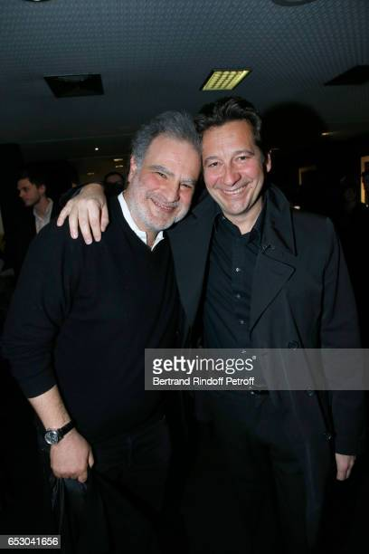Raphael Mezrahi and Laurent Gerra attend the 'Chacun sa vie' Paris Premiere at Cinema UGC Normandie on March 13 2017 in Paris France