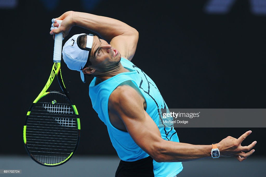 Raphael Nadal of Spain Serves during a practice session ahead of the 2017 Australian Open at Melbourne Park on January 15, 2017 in Melbourne, Australia.