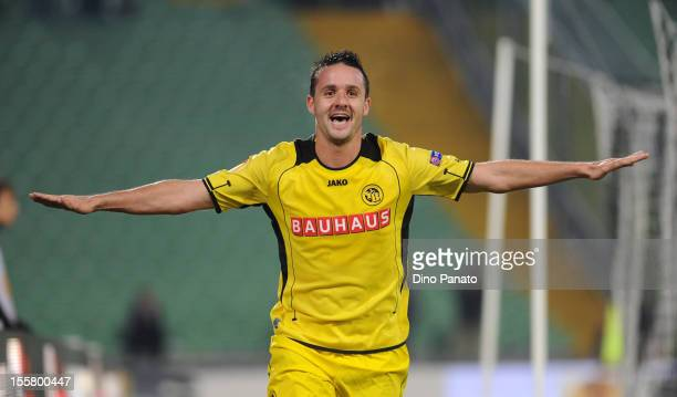 Raphael Nuzzolo of BSC Young Boys celebrates after scoring his team's third goal during the UEFA Europa League Group A match between Udinese Calcio...