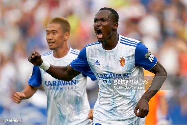 Raphael of Zaragoza celebrates their team's first goal during the Liga Smartbank on September 15, 2019 at Estadio de La Romareda in Zaragoza, Spain.