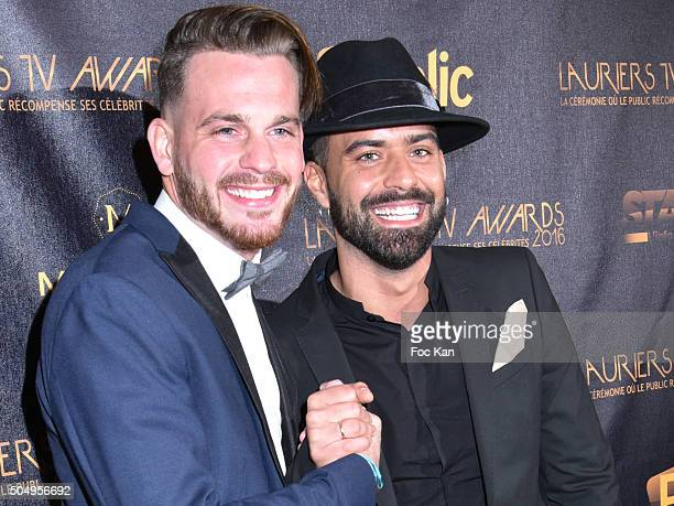 Raphael Pepin and Vincent Queijo from Les Anges 7 attend The 'Lauriers TV Awards 2016 Ceremony' At Theatre des Varietes In Paris on January 13, 2016...