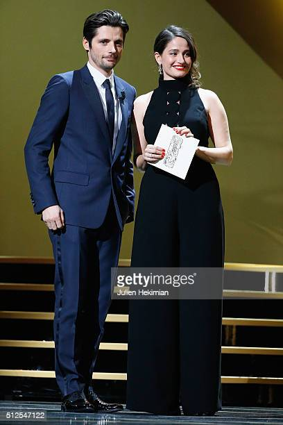 Raphael Personnaz and Marie Gillain pose on stage during The Cesar Film Award 2016 at Theatre du Chatelet on February 26 2016 in Paris France