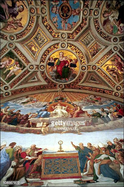 Raphael rooms detail on the signature room 'the blessed sacrament debate' which represents the triumph of religion in Rome Italy on March 28th 2000...