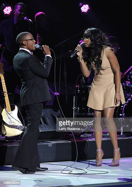 Raphael Saadiq and Jennifer Hudson Perform during the 2011 Nickelodeon Upfront Presentation at Jazz at Lincoln Center on March 10 2011 in New York...