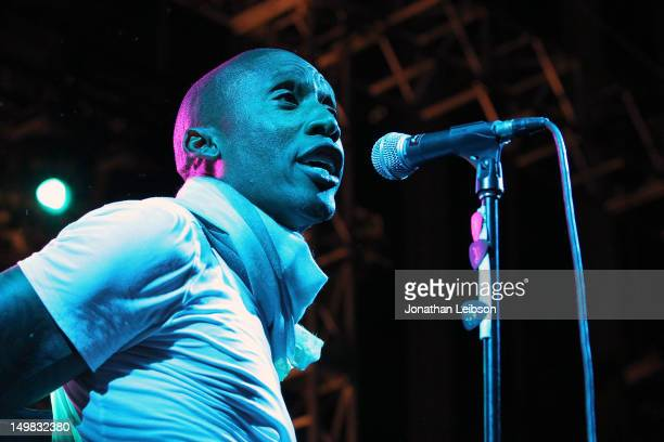 Raphael Saadiq performs at the KCRW And Annenberg Space For Photography's 'Who Shot Rock Roll Live' Featuring Raphael Saadiq And Band Of Skulls at...