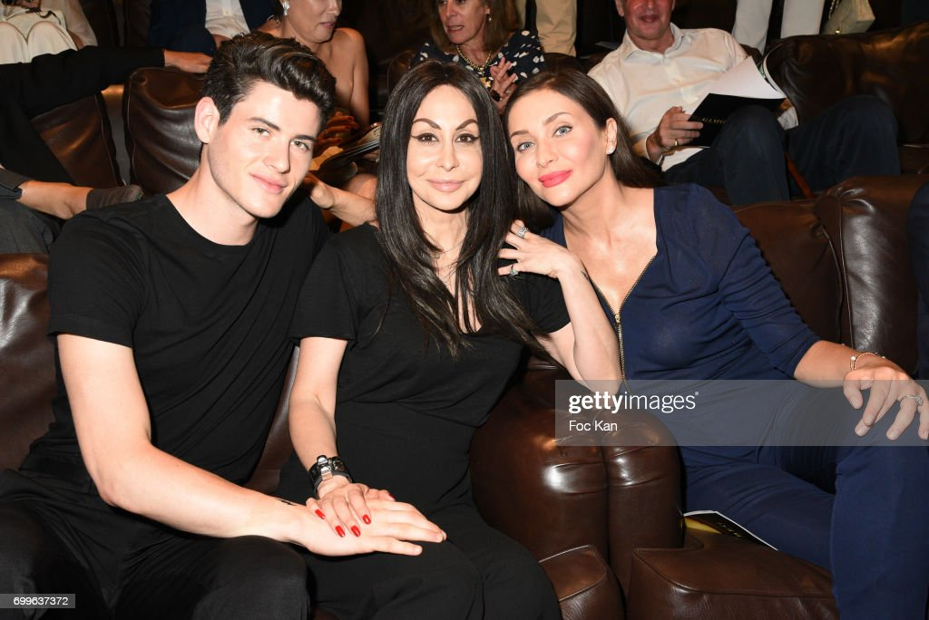 Raphael Say, Stefanie Renoma and Isabella de Ligne La Tremoille Orsini attend 'Ulugh Beg The Man Who Unlocked the Universe ' Screening Cocktail at Club 13 and Dinner at Hotel Hoche on June 21, 2017 in Paris, France.