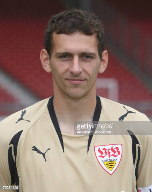 Raphael Schaefer of Stuttgart poses during the Bundesliga 1st Team Presentation of VfB Stuttgart at the GottliebDaimler stadium on July 9 2007 in...