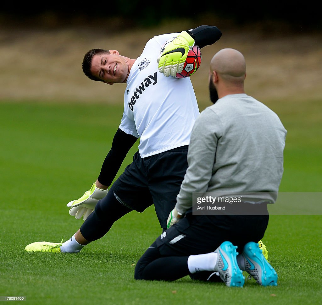 Raphael Spiegel and Darren Randolph during the first West Ham United pre-season training session at Chadwell Heath on June 22, 2015 in London, England.