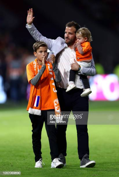 Raphael Van Der Vaart of The Netherlands waves to fans after the match following international retirement during the UEFA Nations League A group one...