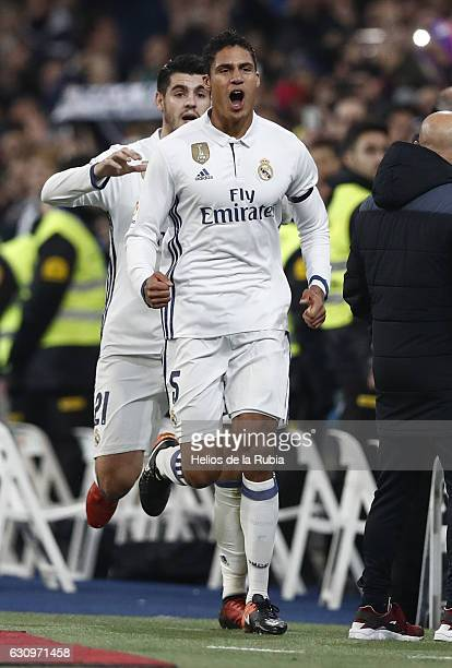Raphael Varane and Alvaro Morata of Real Madrid celebrate after scoring during the Copa del Rey round of 16 first leg match between Real Madrid CF...