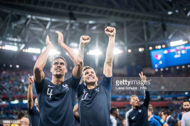 Raphael Varane and Lucas Hernandez of France celebrate after the 2018 FIFA World Cup Russia Semi Final match between Belgium and France at Saint...